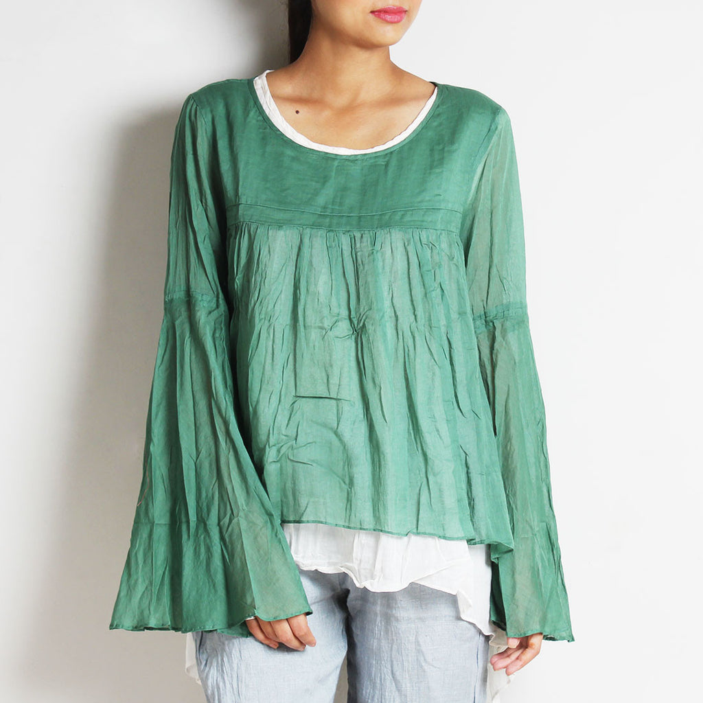 Green Mul Cotton Chantal Top With Inner by FLAME