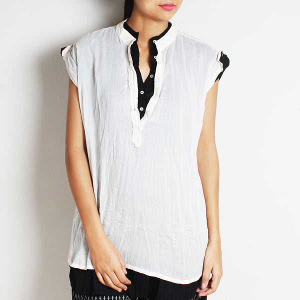 White Mul Cotton Cora Top With Contrasting Inner