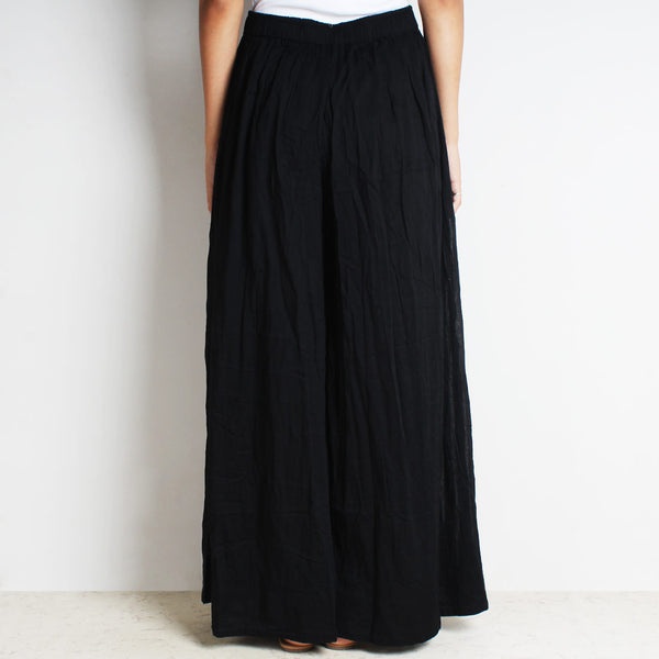 Black Mul Cotton Double Flared Pants