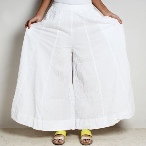 White Mul Cotton Double Flared Pants by FLAME