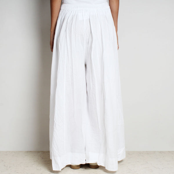 White Mul Cotton Double Flared Pants