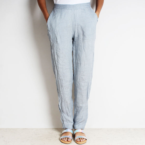 Gray Cotton Linen Lula Pants by FLAME