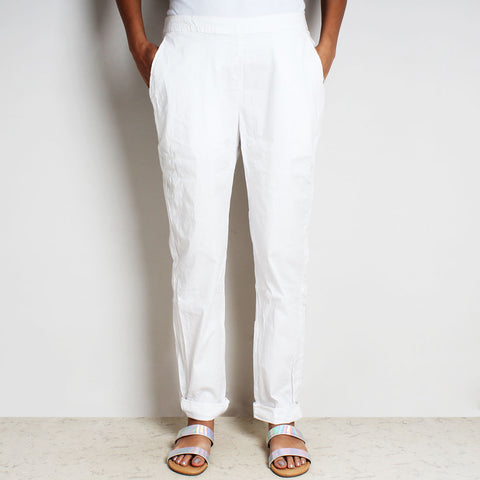 White Poplin Cotton Lula Pants by FLAME