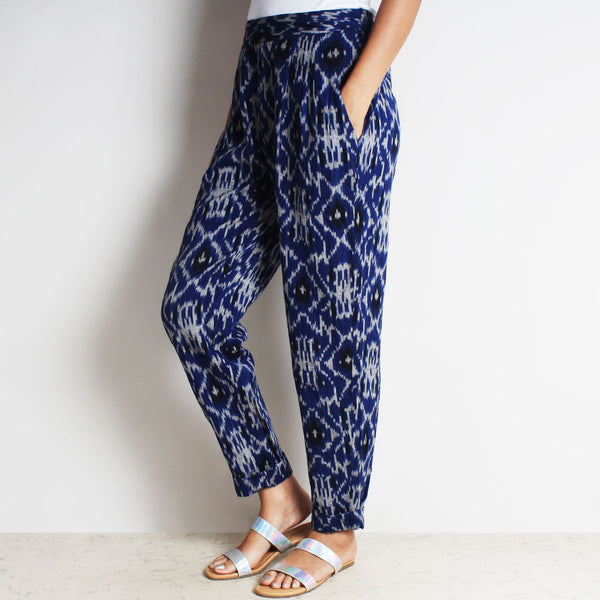 Blue Cotton Tia Pleated Ikat Pants