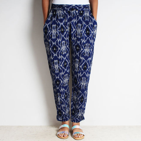 Blue Cotton Tia Pleated Ikat Pants by FLAME