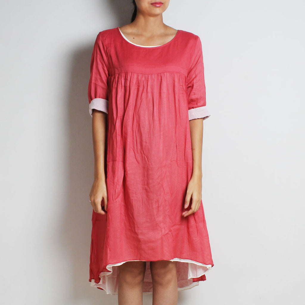 Pink Mul Cotton Chantal Dress With Inner by FLAME