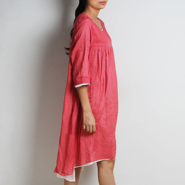 Pink Mul Cotton Chantal Dress With Inner