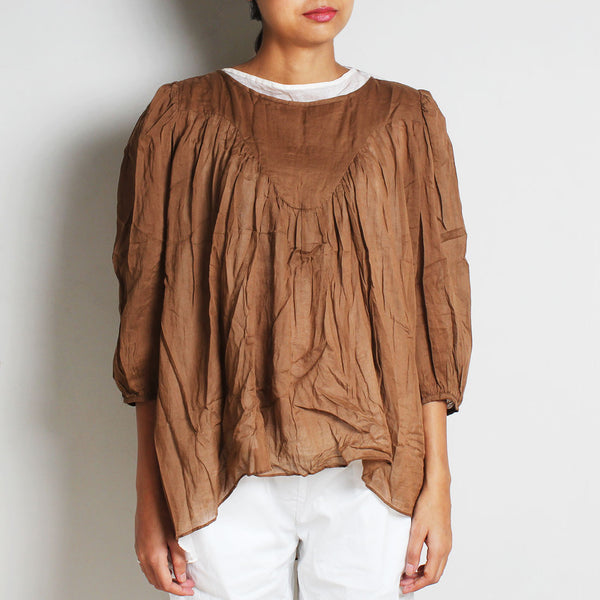 Brown Mul Cotton Alison Top With Inner by FLAME
