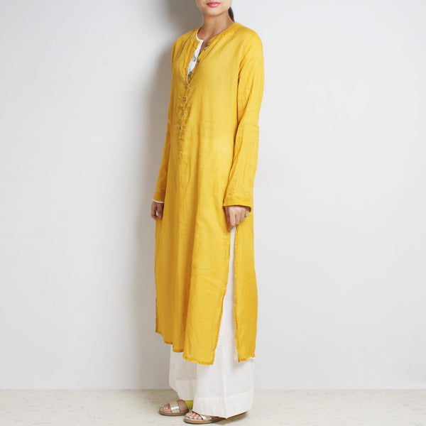 Yellow Mul Cotton Sabina Kaftan With Inner And Bottoms
