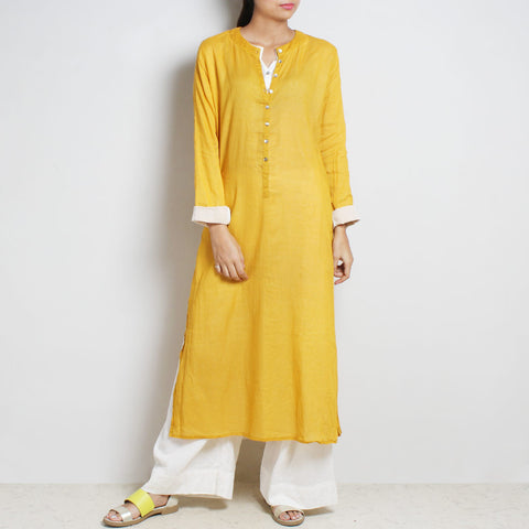 Yellow Mul Cotton Sabina Kaftan With Inner And Bottoms by FLAME