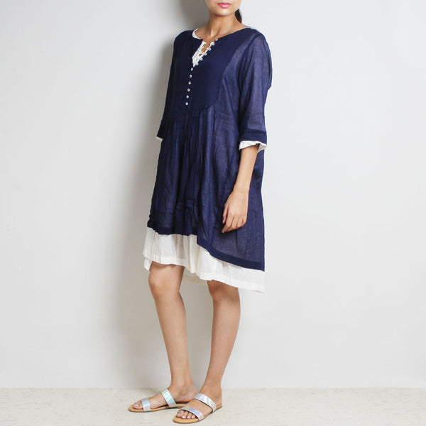 Blue Mul Cotton Denise Dress With Inner