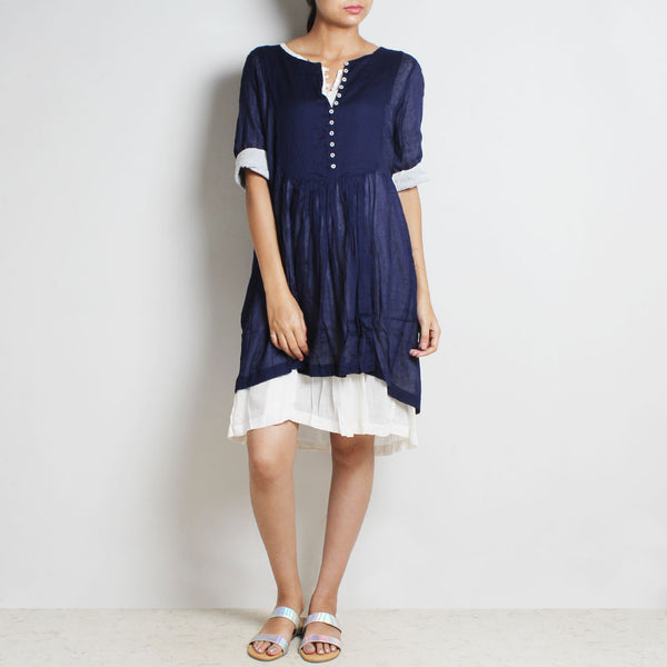 Blue Mul Cotton Denise Dress With Inner by FLAME