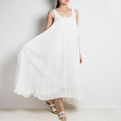 White Mul Cotton Gigi Sleeveless Dress by FLAME