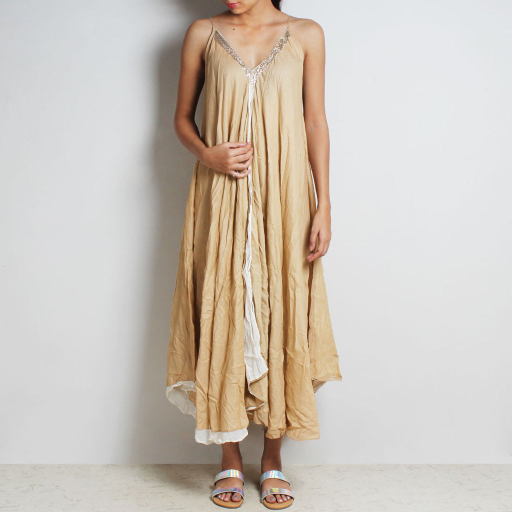 Beige Mul Cotton Monaco Dress With Inner by FLAME