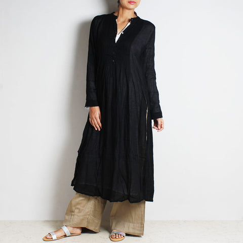 Black Mul Cotton Afreen Kaftan Set With Inner Lining & Bottoms by FLAME