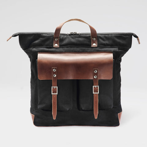 Black & Brown Terra Rucksack in Leather & Canvas by Grain