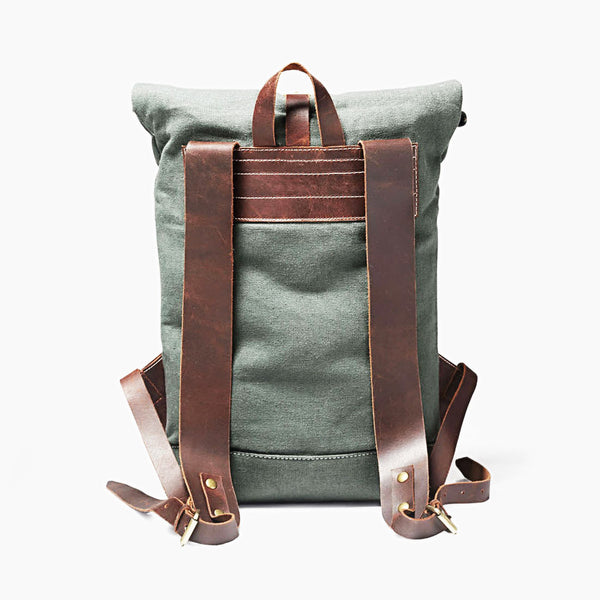Travel Backpack in Military Green & Brown