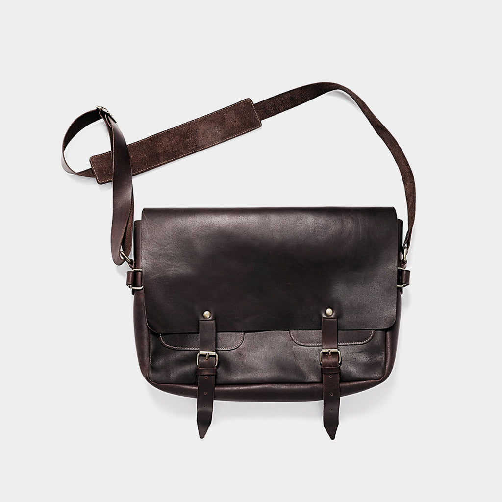 Black Leather Messenger Bag by Grain