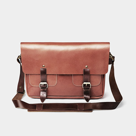 Tan Leather Messenger Bag by Grain