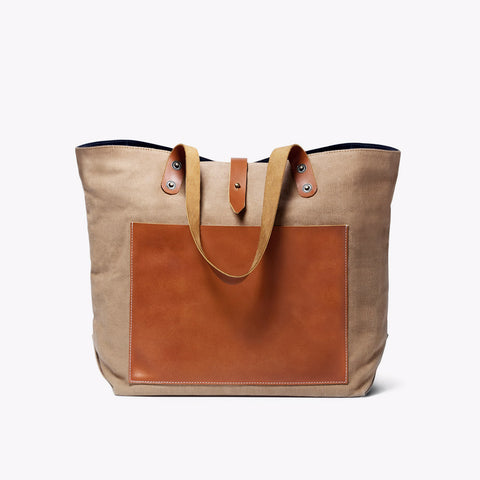 Ochre & Brown Canvas Pocket Tote by Grain