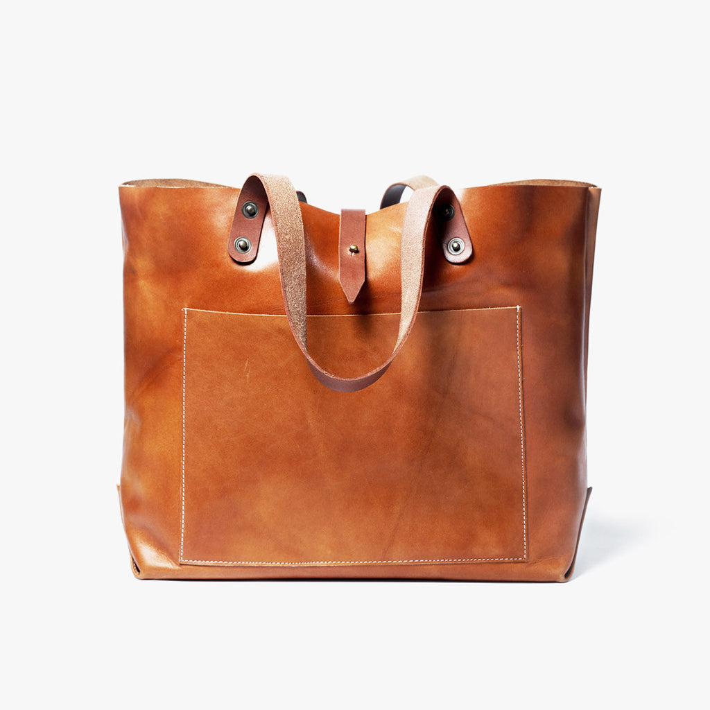 Tan Tote Pocket Leather Bag by Grain