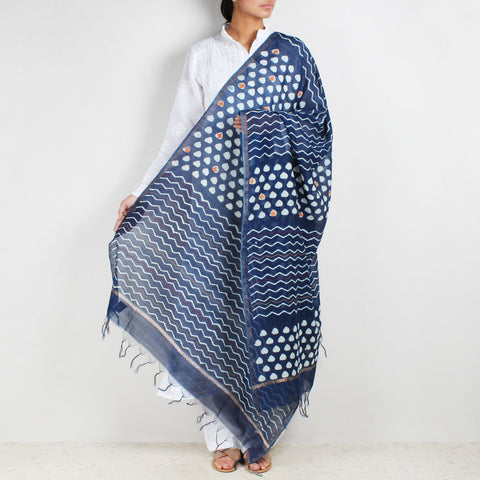 Block Printed Weave & Triangle Indigo Chanderi Dupatta With Sindhi Embroidery by Indian Artisans Online