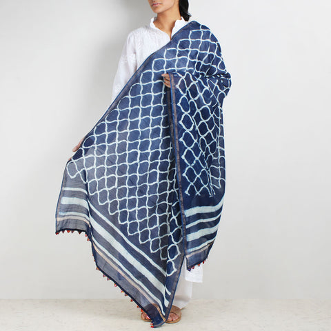Block Printed Jaali Pattern Indigo Chanderi Dupatta by Indian Artisans Online