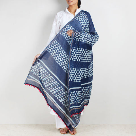 Block Printed Circle Motif Indigo Chanderi Dupatta by Indian Artisans Online