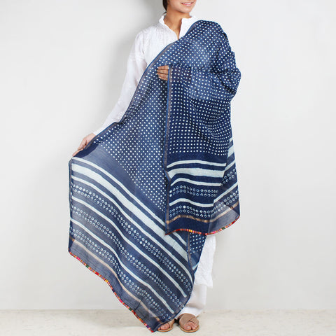 Block Printed Square Motif Indigo Chanderi Dupatta by Indian Artisans Online