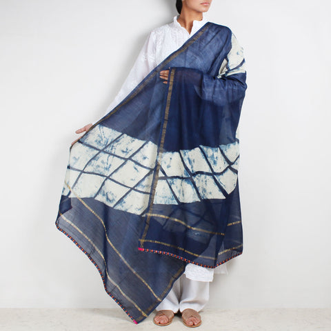 Block Printed Rhombus Pattern Indigo Chanderi Dupatta by Indian Artisans Online