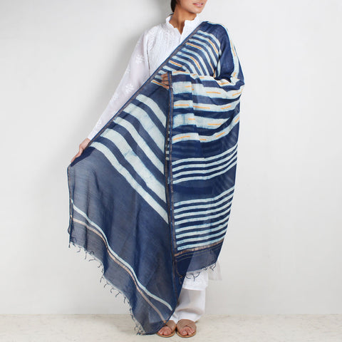 Block Printed Lines Indigo Chanderi Dupatta With Sindhi Embroidery by Indian Artisans Online