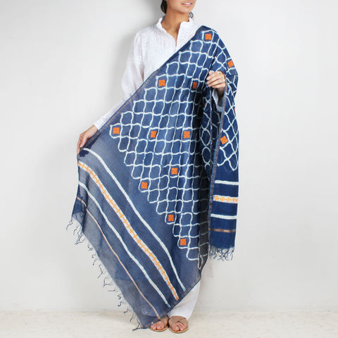 Block Printed Jaali Pattern Indigo Chanderi Dupatta With Sindhi Embroidery by Indian Artisans Online