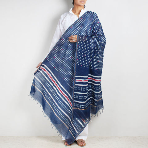Block Printed Square Motif Indigo Chanderi Dupatta With Sindhi Embroidery by Indian Artisans Online