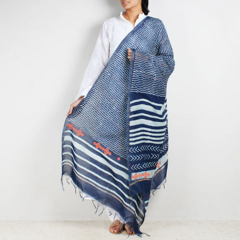 Block Printed Lines & Weaves Indigo Chanderi Dupatta With Sindhi Embroidery by Indian Artisans Online