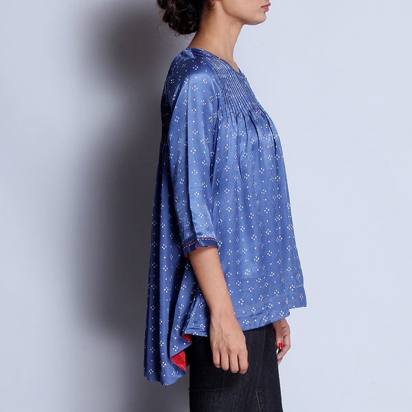 Blue Hand Block Printed Modal Viscose Front & Back Pleated Tunic With Embroidered Sleeve Details