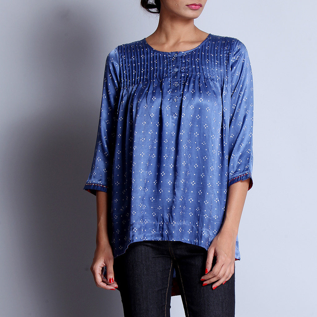 Blue Hand Block Printed Modal Viscose Front & Back Pleated Tunic With Embroidered Sleeve Details by indigene