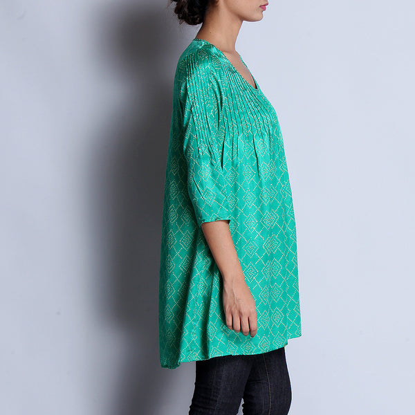Green Hand Block Printed Modal Viscose Tunic With Pintuck Details & Scoop Neck