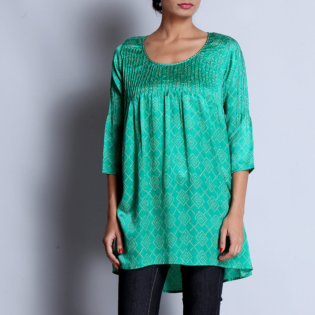 Green Hand Block Printed Modal Viscose Tunic With Pintuck Details & Scoop Neck by indigene