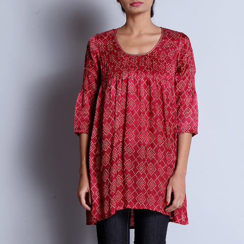 Maroon Hand Block Printed Modal Viscose Tunic With Pintuck Details & Scoop Neck by indigene