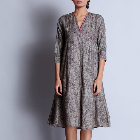 Gray Hand Block Printed Tussar Muga Silk Angarakha Dress With Paneled Ghera & Pocket Details by indigene