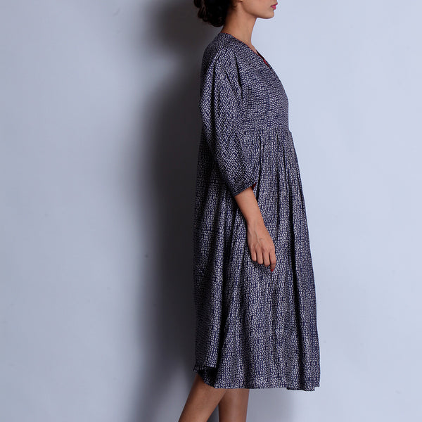 Blue Hand Block Printed Tussar Muga Silk Kimono Dress With Box Pleated Ghera & Pocket Details