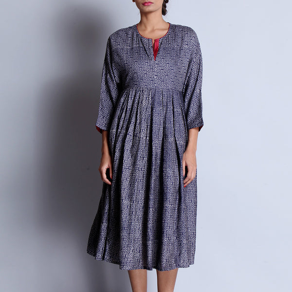 Blue Hand Block Printed Tussar Muga Silk Kimono Dress With Box Pleated Ghera & Pocket Details by indigene