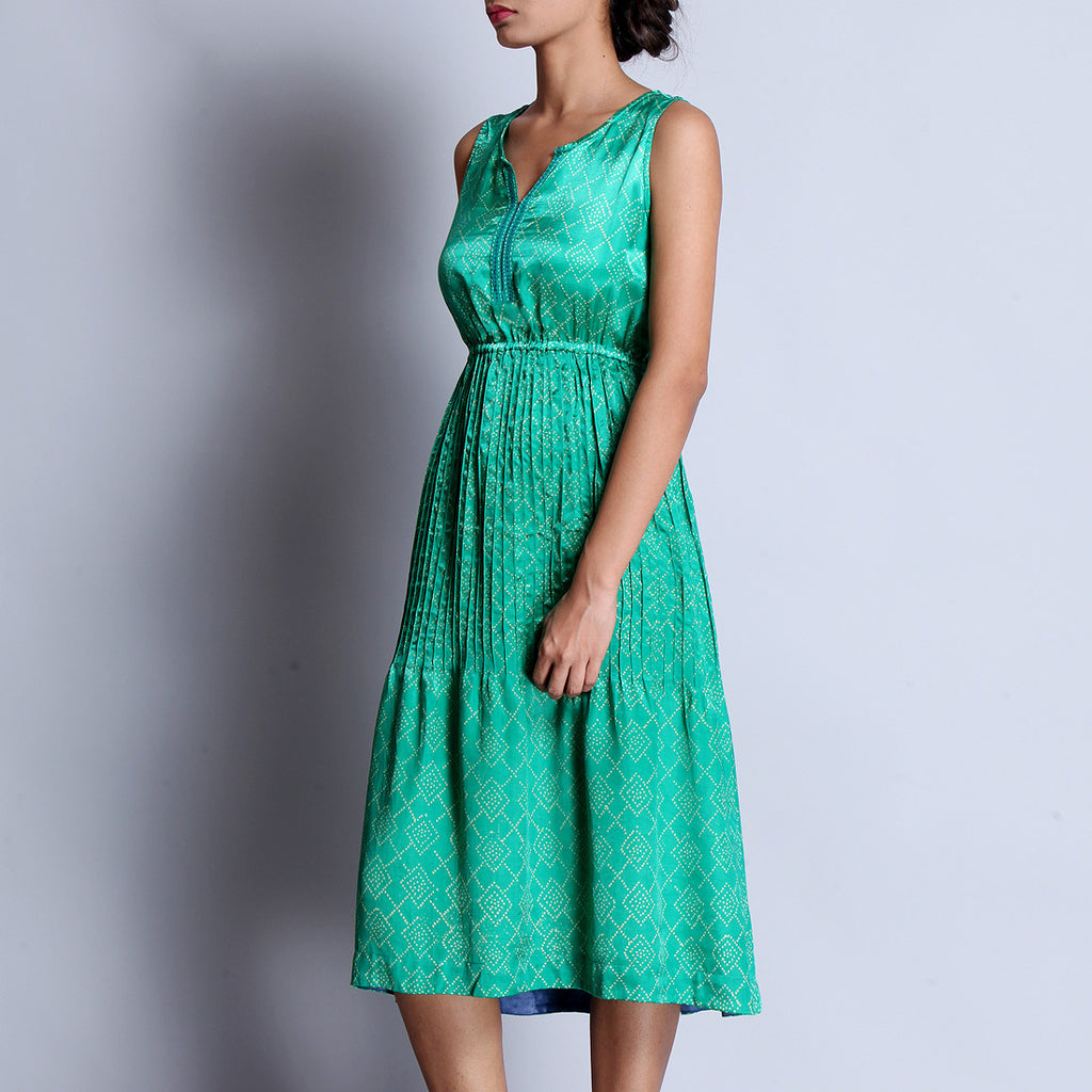 Emerald Green Hand Block Printed Modal Viscose Dress With Pintuck Around The Waistline & Embroidered Neckline by indigene