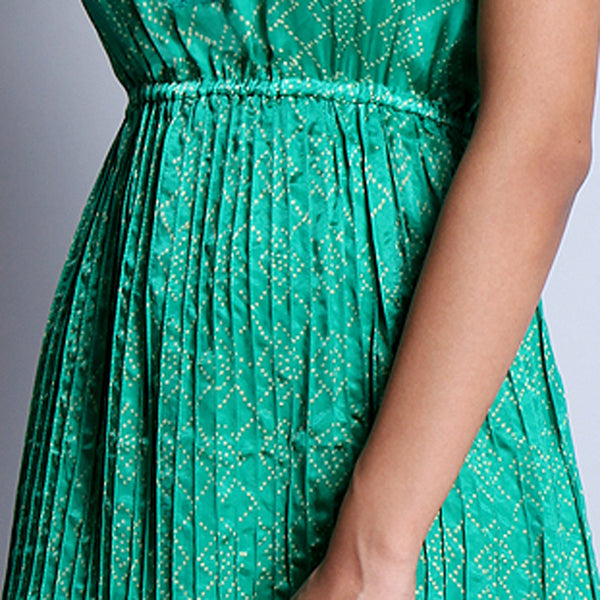 Emerald Green Hand Block Printed Modal Viscose Dress With Pintuck Around The Waistline & Embroidered Neckline