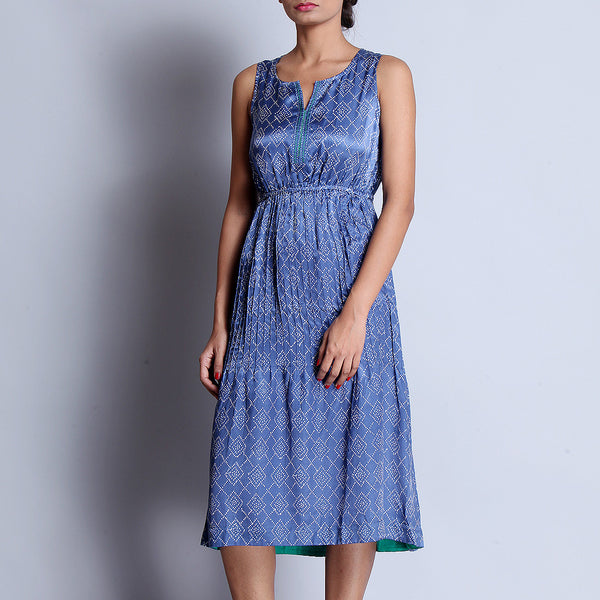 Blue Hand Block Printed Modal Viscose Dress With Pintuck Around The Waistline & Embroidered Neckline by indigene