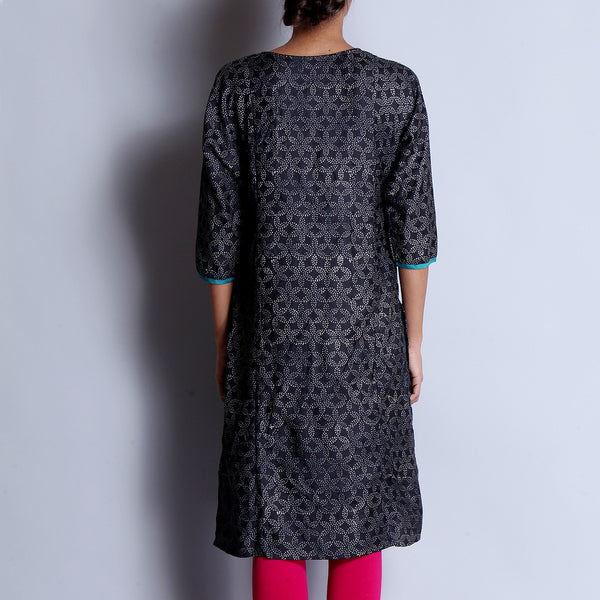 Black Hand Block Printed Tussar Muga Silk Long Kalidar Kurta With Contrast Gusset & Pocket Details