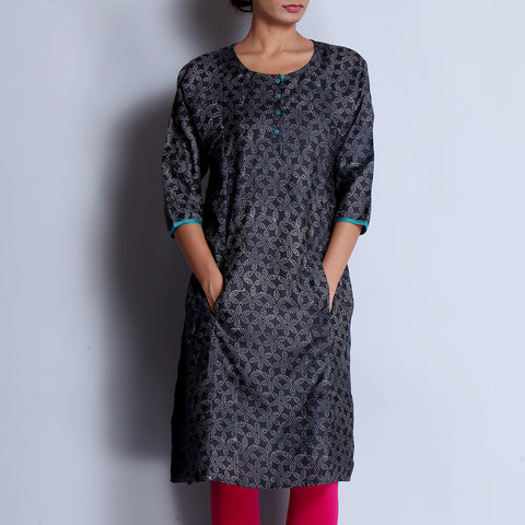 Black Hand Block Printed Tussar Muga Silk Long Kalidar Kurta With Contrast Gusset & Pocket Details by indigene