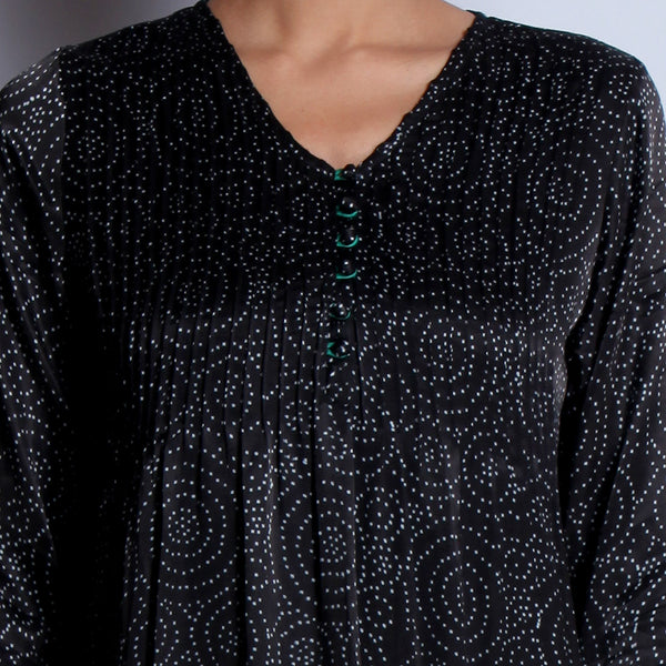 Black Hand Block Printed Modal Viscose Long Kurta With Pintuck Details & Embroidered Sleeves