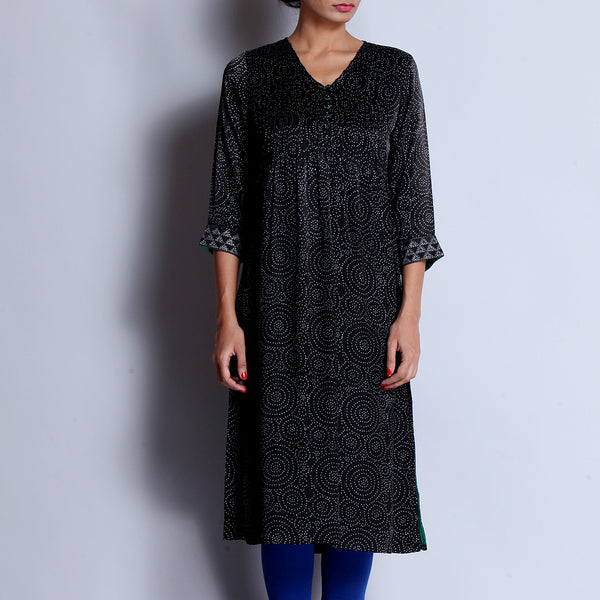Black Hand Block Printed Modal Viscose Long Kurta With Pintuck Details & Embroidered Sleeves by indigene