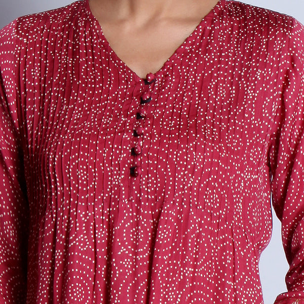 Maroon Hand Block Printed Modal Viscose Long Kurta With Pintuck Details & Embroidered Sleeves